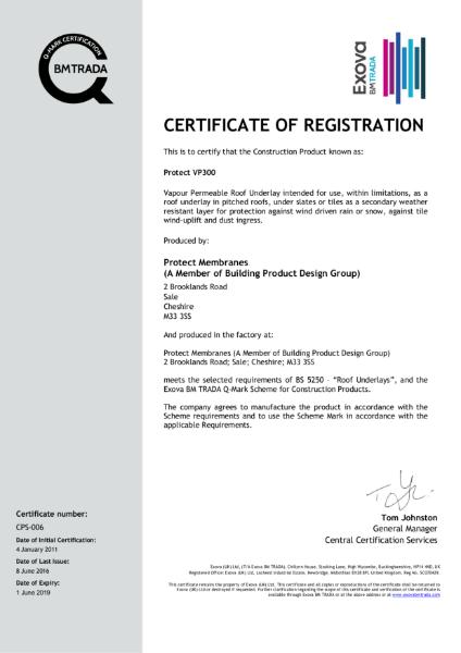 Protect VP300 Membrane Certificate