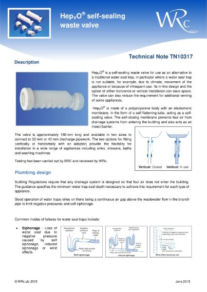 TN 10317 - HepVo self-sealing waste valve