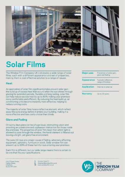 Film Types - Solar Films