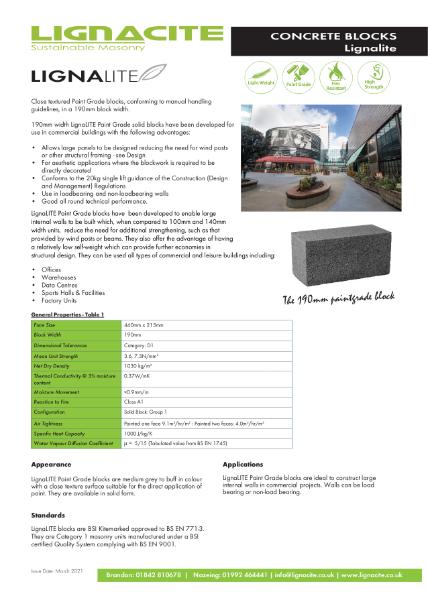Lignalite Concrete Block