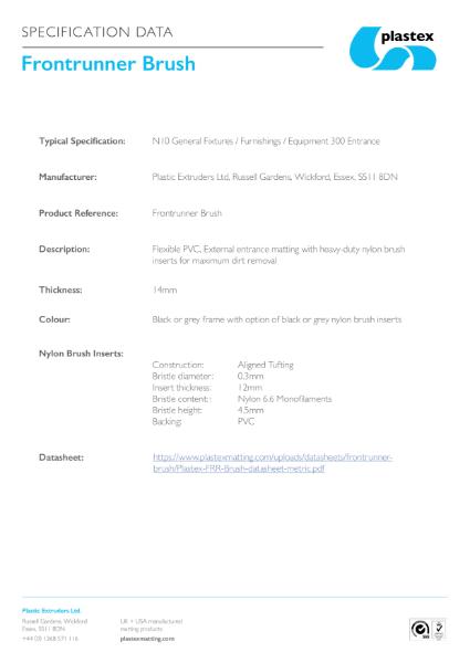 Frontrunner Brush Specification Data
