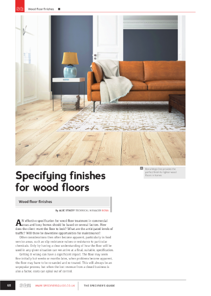 Specifying finishes for wood floors