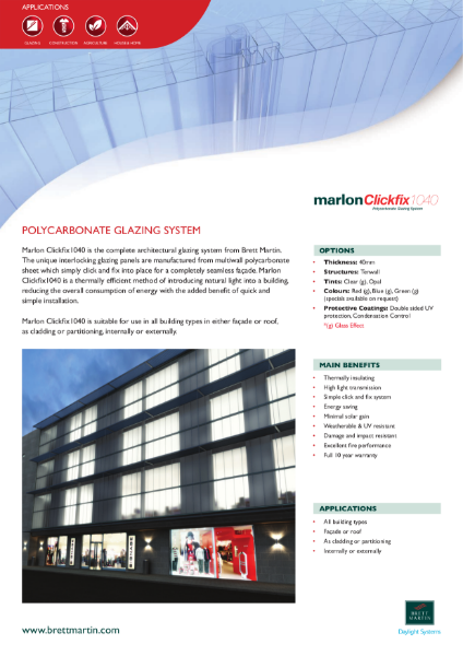 Polycarbonate Panel Glazing System for vertical façades & rooflights- Marlon Clickfix 1040