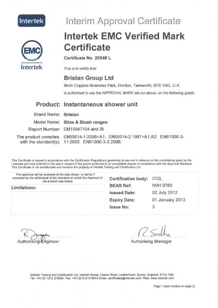 Intertek EMC Mark Certificate 20548
