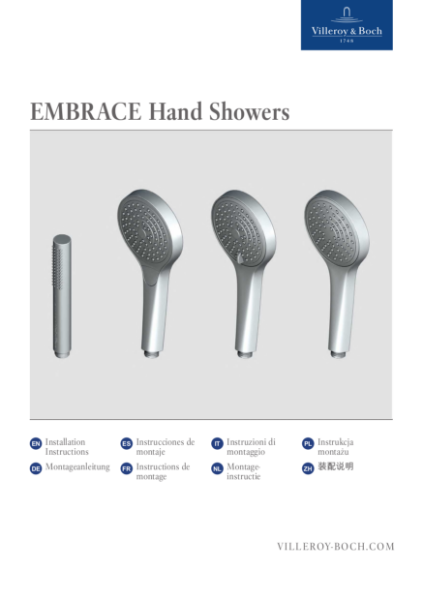 Embrace Hand Showers Installation Instructions