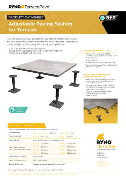 Datasheet - Adjustable Paving System for Terraces