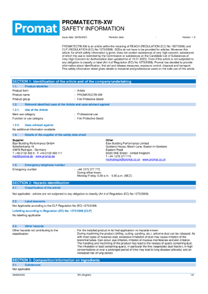 PROMATECT® -XW - High Performance Fire Protection Board - Safety Data Sheet