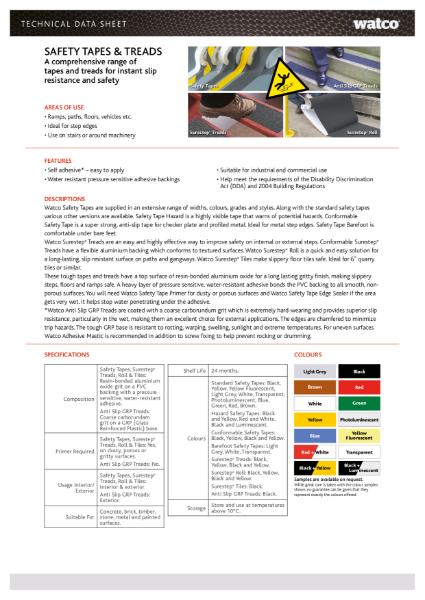 Data Sheet: Safety Tape Range & Treads