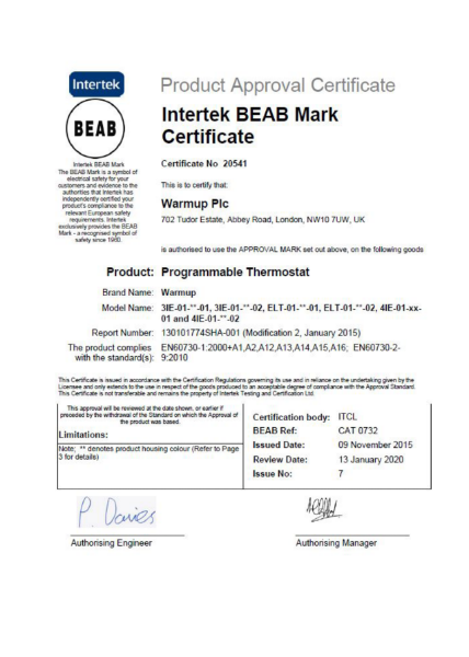 Intertek BEAB Mark Certificate (Programmable Termostat)