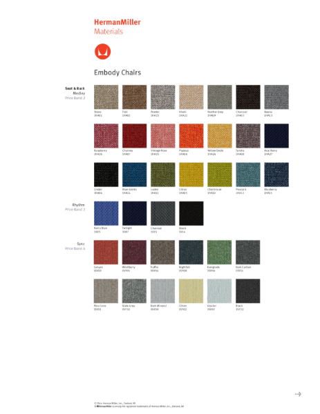 Embody Chairs - Colour Choices