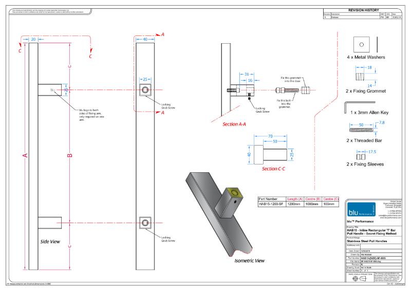 BLU™ - HAB15 Inline Rectangular 'T' Bar Pull Handle Secret Fix
