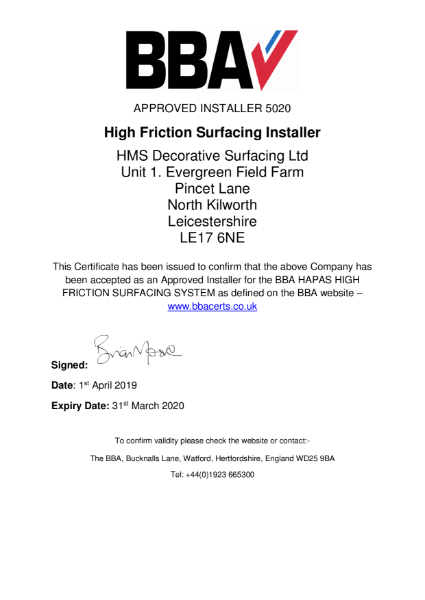 BBA Approved Installer certificate 5020