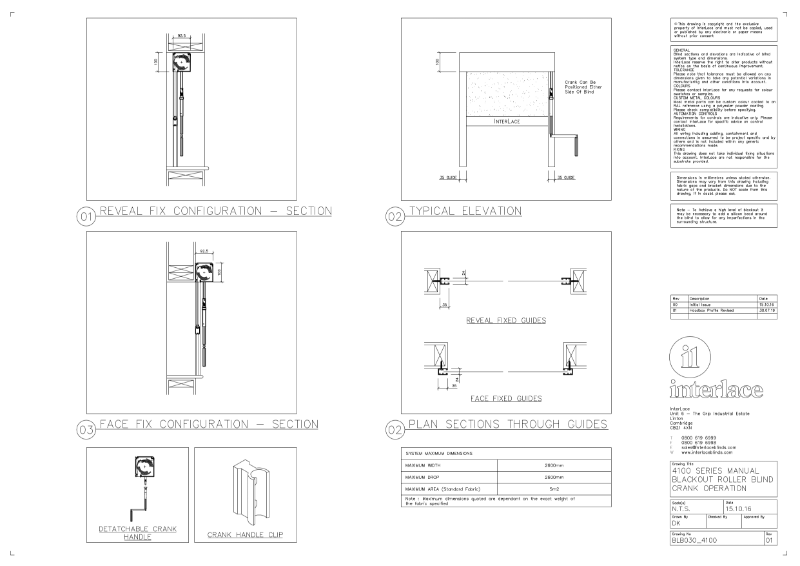 4100 Series Blackout Blind - Drawing Manual Crank