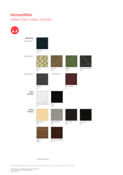 Saiba Chair - Colour Choices