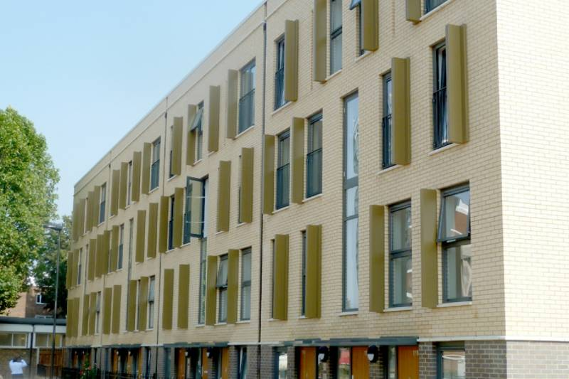 Bailey Unitised Feature fins used on socials housing and community redevelopment project