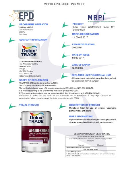 16 MRPI EPD Weathershield Quick Dry Exterior Satin DEF