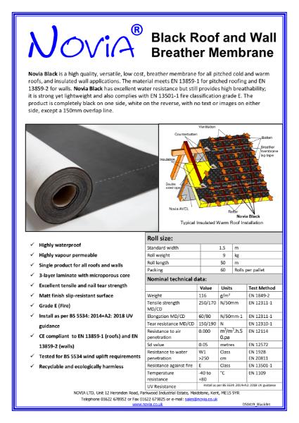 Novia Black Breather Membrane 115gsm