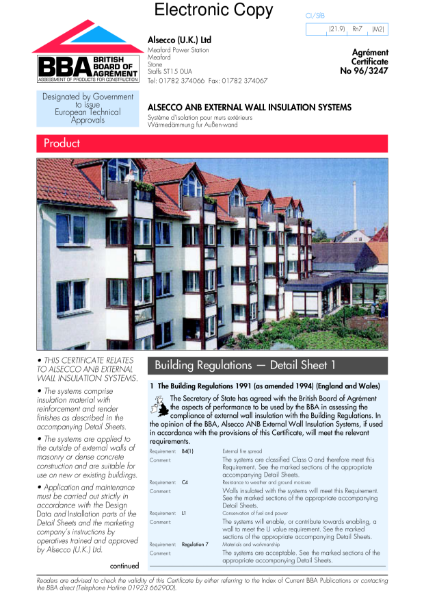 96/3247 Alsecco ANB external wall insulation systems