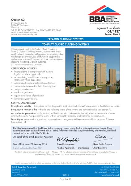 04/4137 Creaton Tonality terracotta rainscreen cladding system (BBA Certificate)