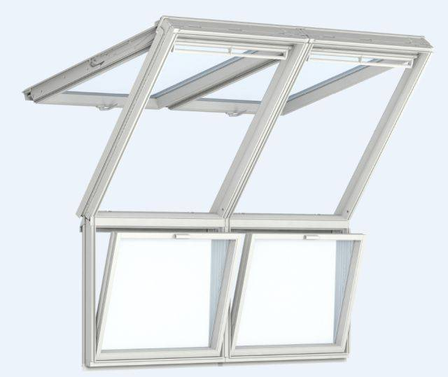 GPU Manually Operated, White Polyurethane Top-Hung Roof Windows with Fixed Vertical Windows Below, Twin Installation