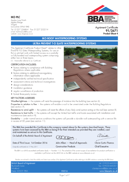 91/2671_4 Ultra Prevent T-O Slate Waterproofing Systems