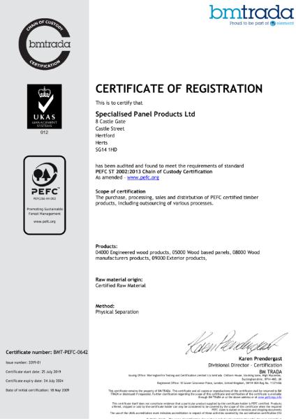 SPP - PEFC Certification 2019-2024
