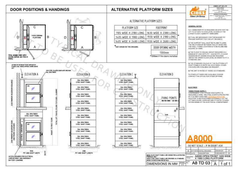 A8000 1405mm x 1980mm Platform Lift 1000Kg