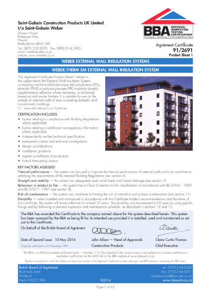 91/2691 Weber.Therm XM External Wall Insulation System (Product Sheet 1)