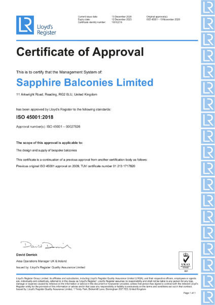Certificate of Approval 45001