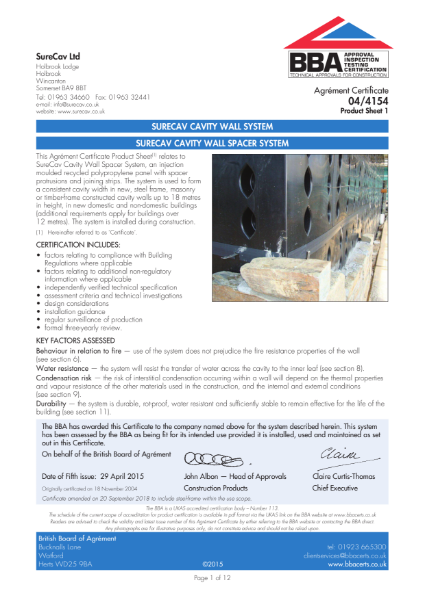BBA Certificate 04/4154