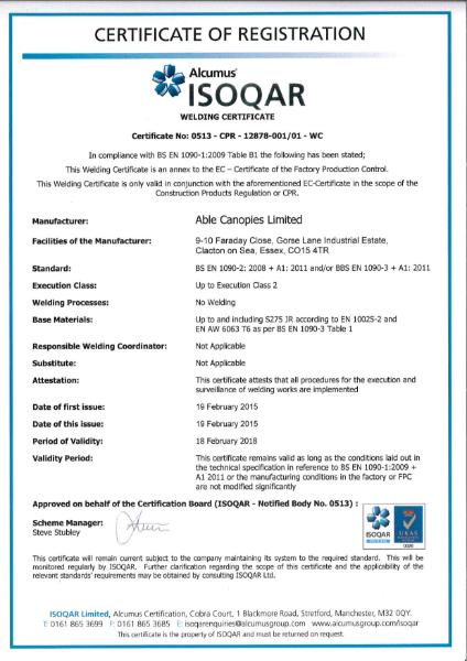 BS EN 1090-2:2008 Certificate
