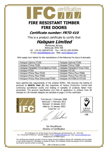 Halspan IFCC Certificate