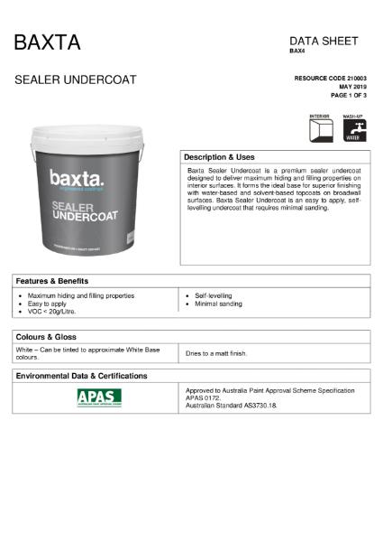 BAX 4 Sealer Undercoat TDS