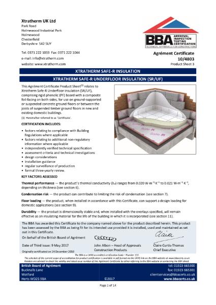 10/4803 Xtratherm Safe-R Underfloor Insulation (SR/UF) (Product Sheet 3)