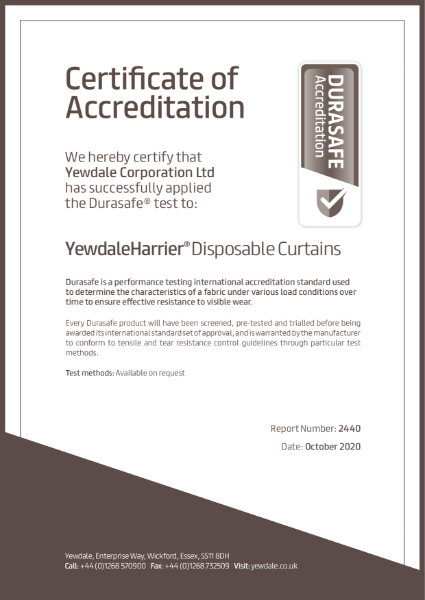 Durasafe durability certificate for YewdaleHarrier Disposable cubicle curtains
