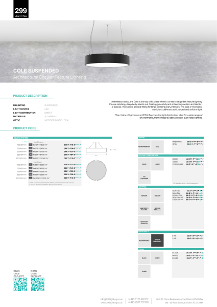 Cole Suspended Feature Lighting Datasheet