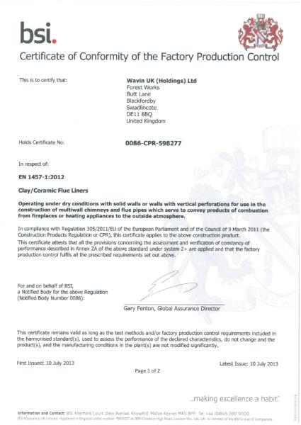 BS EN 1457-1:2012 Certificate