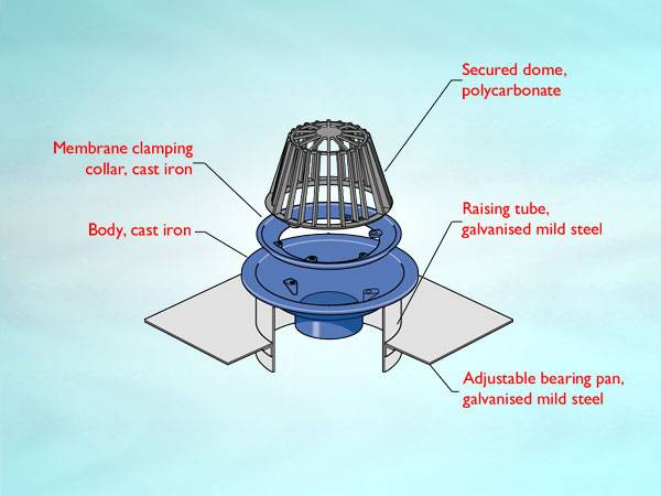 WC4 Series outlet for warm roof, non-loadbearing condition, vertical threaded outlet, dome grating or overflow upstand