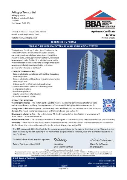 13/5062 TERRACO EIFS PERMA EXTERNAL WALL INSULATION SYSTEM