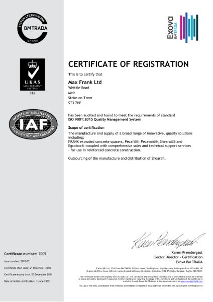 ISO 9001:2008 Certificate (BM TRADA)