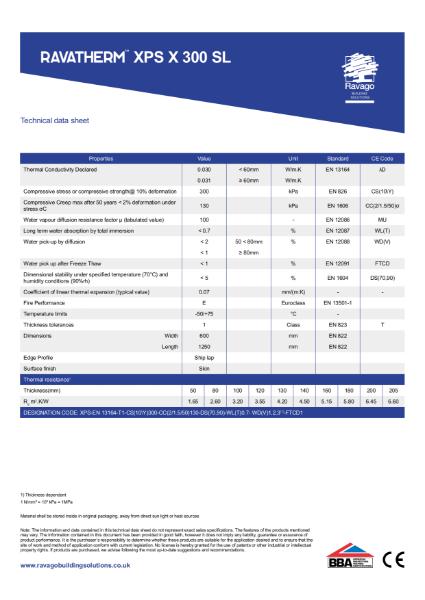 Ravatherm XPS X 300 SL Technical Data Sheet