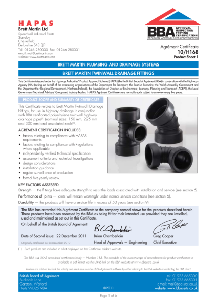 10/H168 Twinwall Drainage Fittings