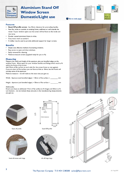 Aluminium Stand Off Window Screen - Domestic