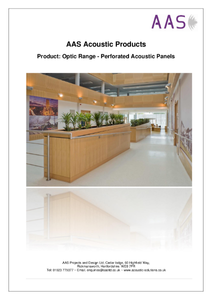 Optic Perforated/Slotted Acoustic Panels - Data Sheet