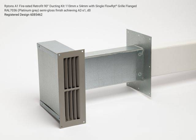 Rytons A1 Fire-rated Retrofit 90° Ducting Kit 110mm x 54mm with Single Air Brick Grille