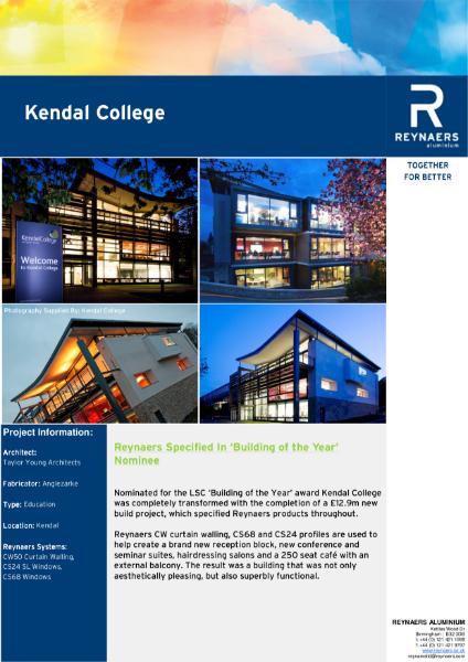 Case Study: Kendal College, featuring CS 68 aluminium windows