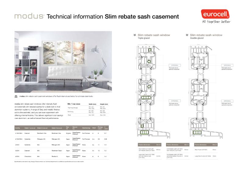 Modus Slim Rebate Sash Casement Technical Information
