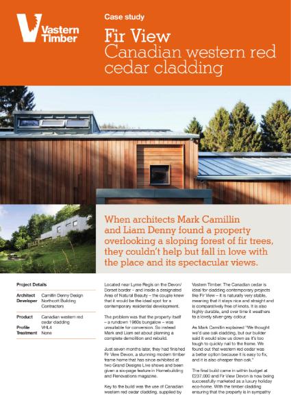 Case study - Canadian cedar timber cladding on Fir View