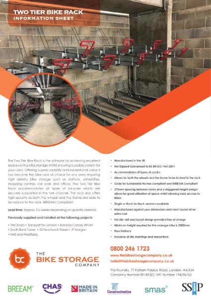 Bike Rack - Two Tier Rack Specifiation Sheet
