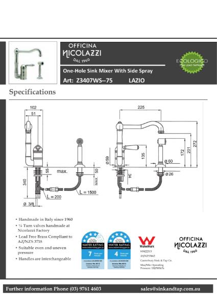 Z3407WS-75 Lazio technical specification